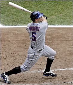 David Wright, shown homering at Milwaukee's Miller Park last month, is having an excellent all-around season for the front-running New York Mets.