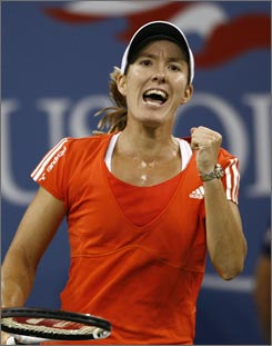 Justine Henin won her seventh Grand Slam title with her victory over Svetlana Kuznetsova at the U.S. Open women's final.