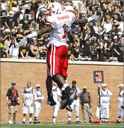 Nebraska cornerback Zackery Bowman (1) celebrates after making an interception in the end zone to help the Cornhuskers hold off Wake Forest.