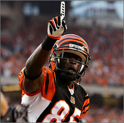 Cincinnati receiver Chad Johnson caught five balls for 95 yards and a touchdown against Baltimore.