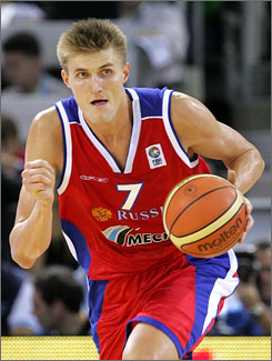Russia's Andrei Kirilenko, who also plays for the NBA's Utah Jazz, drives against Croatia during a European Championship Group E game Wednesday in Madrid. Kirilenko finished with 20 points in a winning effort.