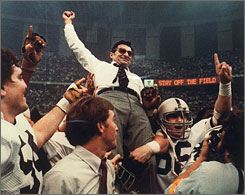 Joe Paterno celebrated a national championship in 1982, leading an independent Penn State squad to an 11-1 record and a 27-23 triumph over Georgia in the Sugar Bowl. Twenty-five years later, the Nittany Lions are members of the Big Ten conference.