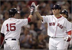 Jacoby Ellsbury, right, and Dustin Pedroia (15) are rookies making a splash for the Red Sox. Their archrivals, the Yankees, are also stabilizing their organization by developing their own players.