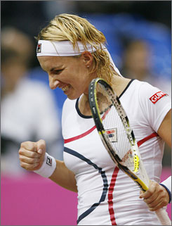 Russia's Svetlana Kuznetsova celebrates after winning a game against Italy's Mara Santangelo during their Fed Cup match, won by Kuznetsova on Saturday.
