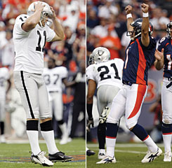 Oakland's Sebastian Janikowski, left, and Denver's Jason Elam had contrasting emotions after their overtime field-goal attempts.
