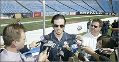 Buffalo goaltender Ryan Miller meets the press to discuss the Sabres-Penguins outdoor game on New Year's Day. During college, Miller played for Michigan State when the Spartans faced Michigan outdoors in East Lansing in 2001.