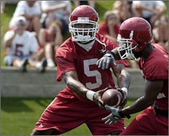 """Arkansas running back Darren McFadden, here playing quarterback in the Razorbacks' """"WildHog formation"""" during spring practice, has been effective from under center. So much so that other teams are starting to mimic Arkansas' formation."""