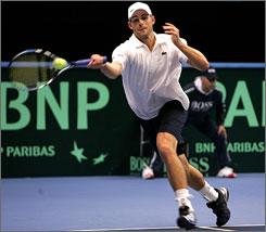 Andy Roddick needed one break of serve to get past Joachim Johansson in three sets.