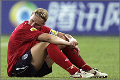 England captain Faye White is distraught after her team was beaten 3-0 on Saturday by the U.S. at the Women's World Cup.
