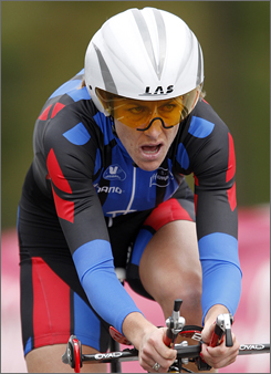 Kristin Armstrong pedals her way to a silver medal in the road cycling world championship time trials in Germany on Wednesday.