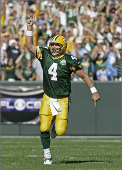 Brett Favre is far more concerned with wins and losses than he is about his place in the record books.