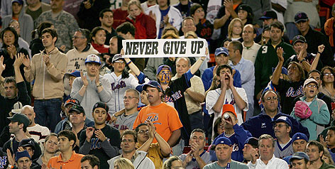 As the Mets tumble from their perch in the NL East, at least one fan stayed optimistic.