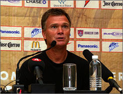 Greg Ryan met the media one day after the United States fell to Brazil in the World Cup semifinals.