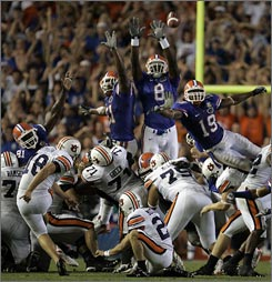 Florida's blockers couldn't get their hands on Wes Byrum's 43-yard field goal that cemented Gators coach Urban Meyer's first home loss.