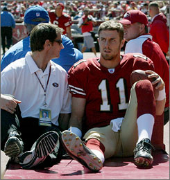 San Francisco 49ers quarterback Alex Smith leaves the field on a cart after sustaining an injury on Sunday.