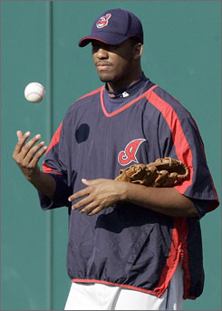 Fausto Carmona flips a baseball as he contemplates his Game 2 start against New York on Friday. His Indians have a chance at taking a 2-0 series lead.
