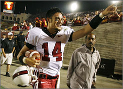 Stanford quarterback Tavita Pritchard celebrates after his late touchdown pass knocked off No. 1 Southern California.