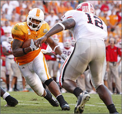 Tennessee's Arian Foster gets into the end zone for one of his three touchdowns against Georgia.