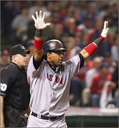 Manny Ramirez got a bit under the skin of some of the Cleveland Indians with his high-styling after homering during Game 4 at Jacobs Field. Despite the power display, the Indians lead the Red Sox 3-1 in the AL pennant showdown.