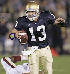 Evan Sharpley will make his first career start when Notre Dame hosts Southern California.