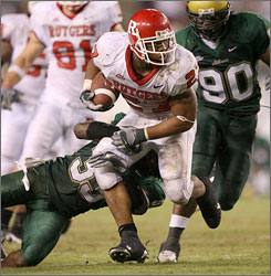 Rutgers running back Ray Rice will hope to find running room against the South Florida defense.