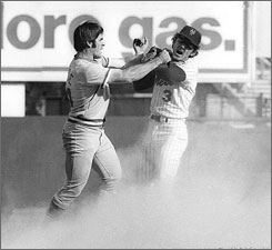 Fans didn't show much interest in the playoffs until the Reds' Pete Rose, left, and the Mets' Bud Harrelson scuffled in Game 3 of the 1973 LCS. Nowadays, the playoffs seem more stressful than the World Series.
