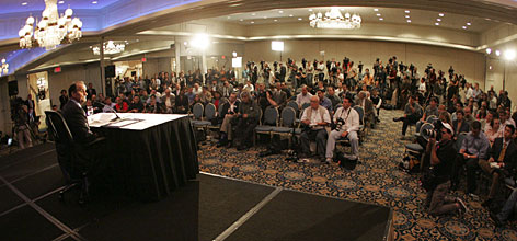 Former Yankees manager Joe Torre addresses the media on Friday.