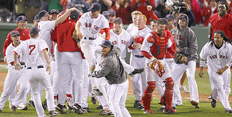 The 2007 American League champion Boston Red Sox celebrate after completing their comeback against the Cleveland Indians.