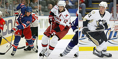 The Staals of the NHL and Thunder Bay, Ontario are the first trio of brothers to compete in the same season since Kevin, Kelly and Kip Miller all played in 1998-99. From left are Marc of the New York Rangers, Eric of the Carolina Hurricanes and Jordan of the Pittsburgh Penguins.