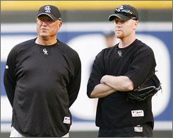 Rockies manager Clint Hurdle, left, added pitcher Aaron Cook, right, to the World Series roster. Cook is slated to start Game 4 Sunday at Coors Field.