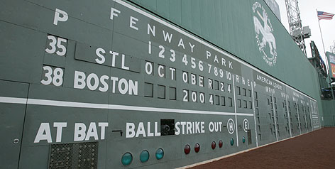 Fenway Park's left field wall is known as the Green Monster, a 37-foot high structure that takes away and gives home runs. The Red Sox have played at the stadium just off Brookline Ave. since 1912.