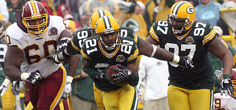 Green Bay Packers cornerback Charles Woodson (21), who returned an interception for the winning touchdown against Washington on Oct. 14, has silenced skeptics who thought his career was nearing its end.