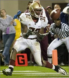 Boston College' s Andre Callender hauls in the game-winning touchdown pass from quarterback Matt Ryan with 11 seconds left at Lane Stadium.