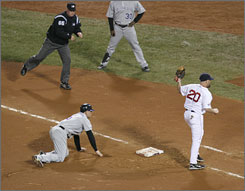 Umpire Ted Barrett rings up Matt Holliday just after the Red Sox picked off the Rockies outfielder during Game 2 of the World Series. First baseman Kevin Youkilis made tag on a play set up when pitcher Jonathan Papelbon followed the scouting report that said Holliday liked to run on the first pitch.