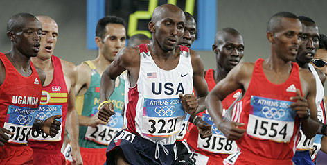 The USA's Abdi Abdirahman was in the middle of the 10,000-meter final at the 2004 Athens Olympics.