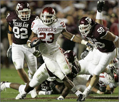 Oklahoma running back Allen Patrick will be seeking rushing room against the Texas A&M defense.