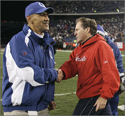 "Sunday's matchup pits two of the most successful coaches in the NFL. Of the Colts' Dungy, team president Bill Polian says, ""Players don't respect Tony, they revere him.""  Of Belichick, Patriots quarteback Tom Brady says, ""I've been playing for him for eight years,  and he's never wrong."""