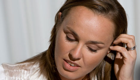 Martina Hingis pauses during a Nov. 1 press conference in Zurich, Switzerland, in which she announced her retirement from professional tennis.