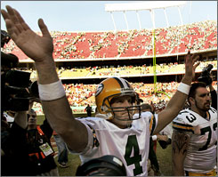 Brett Favre's win against the Chiefs gave him one victory against all 31 NFL clubs other than the Packers, one week after Tom Brady and Peyton Manning became the first quarterbacks to beat 31 other teams.