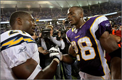 Adrian Peterson broke the single-game rushing record in Week 9 in front of LaDainian Tomlinson, the man who broke the single-season touchdown record last year.