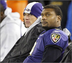 Baltimore quarterback Steve McNair, right, has just two touchdown passes and four interceptions this season.