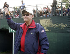 Jack Nicklaus, seen here during the Presidents Cup on Sept. 30, is one of the 13 original inductees in the World Golf Hall of Fame.