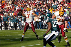 Redskins quarterback Jason Campbell finally connected with a wide receiver for a touchdown against the Eagles in Week 10.