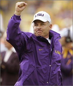 LSU coach Les Miles, seen here before his Tigers faced South Carolina on Sept. 22, played and coached for Bo Schembechler at Michigan.