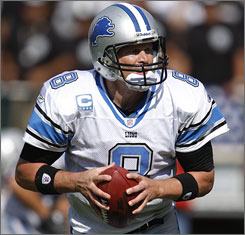 Detroit quarterback Jon Kitna is sixth in the NFL with 2,673 yards passing and eighth in the league with a 90.2 passer rating for the 6-4 Lions.