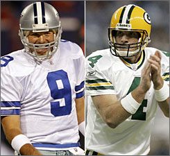 Dallas quarterback Tony Romo, left, will lead his Cowboys against Brett Favre and his Green Bay Packers when the two 10-1 teams meet next Thursday in a game that could determine home-field advantage in the NFC.