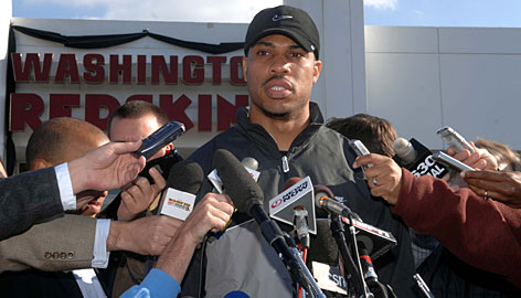"""An emotional Jason Campbell talks to reporters about the death of teammate Sean Taylor at Redskins Park in Ashburn, Va. """"Sean was a good friend to all of us. We're all like a family. We lost a family member,"""" said Campbell."""