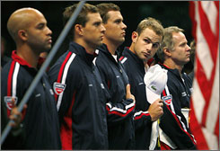 From left: James Blake, Mike Bryan, Bob Bryan, Andy Roddick and Patrick McEnroe hope to put an end to the United States' drought in the Davis Cup. The squad faces off with Russia in this year's final this weekend in Portland, Ore.