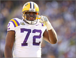 Despite battling injuries for much of the season, LSU defensive tackle Glenn Dorsey was honored with the Nagurski Trophy as college football's top defender.