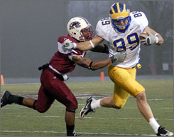 Delaware's Robbie Agnone fights for yardage as Southern Illinois' Craig Turner tries to take him down during the first half of the Blue Hens' semifinal victory on Saturday.